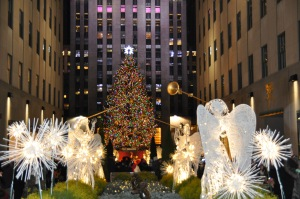 Angels and tree at Rock Center